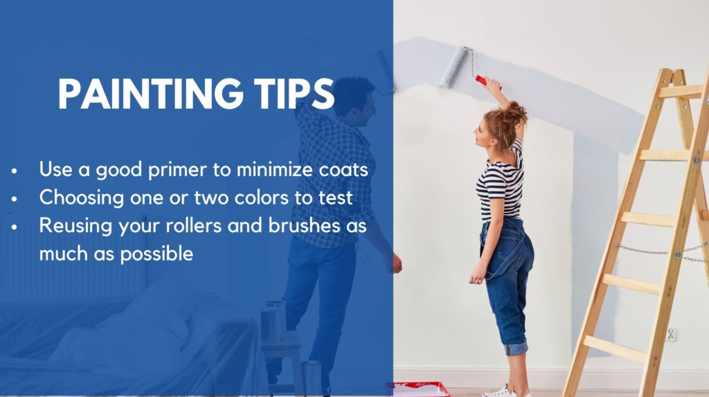 couple painting the outline of a house on their wall, along with some text detailing painting tips such as using a good primer, choosing test colors, and reusing rollers