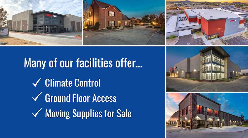 different facilities that offer ground floor access to climate controlled storage